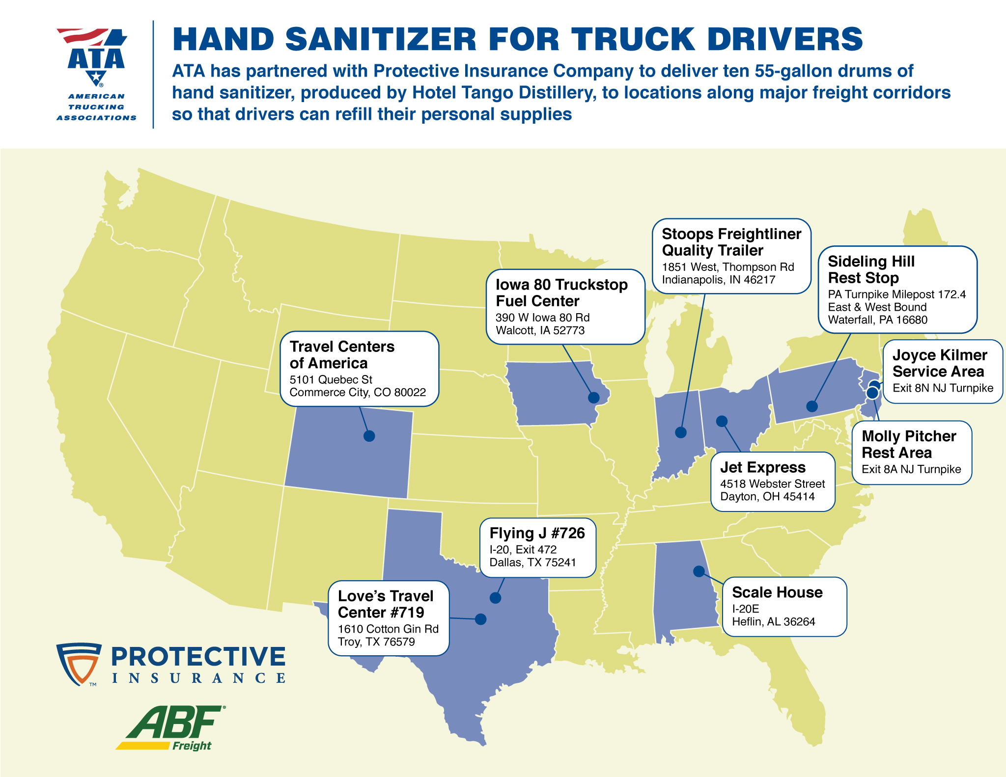 ATA Hand Sanitizer Locations